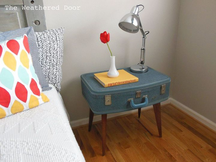 diy suitcase side table, painted furniture, repurposing upcycling, A new useful side table