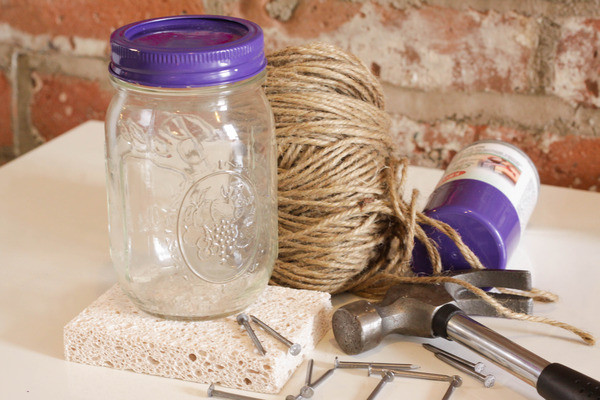 make a diy butterfly feeder in 6 easy steps, crafts, mason jars, You ll need mason jar or baby food jar with sealable lid kitchen sponge hammer and nail heavy duty string sponge sugar scissors saucepan and flower stickers or decorative tape optional
