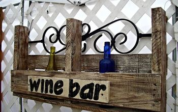 pallet wine bar, painting, pallet, woodworking projects, Updated version with metal back piece