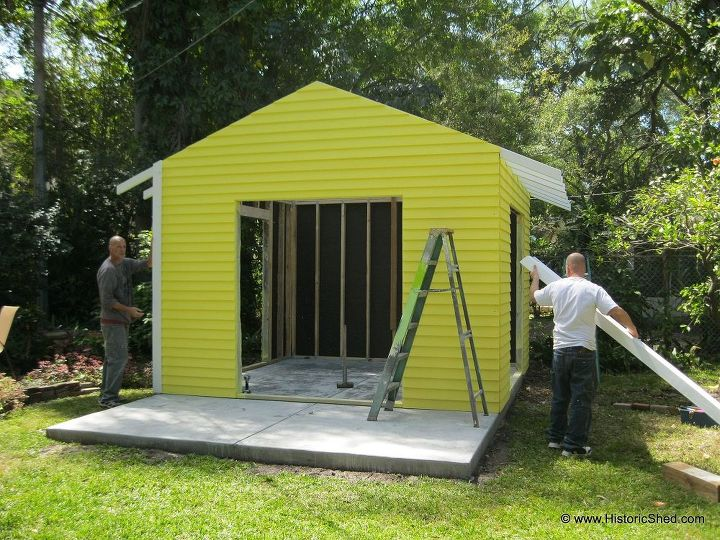 Installing the shed.