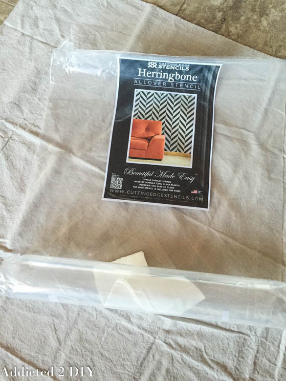how to stencil curtains with the herringbone pattern, how to, painting, reupholster, window treatments, windows