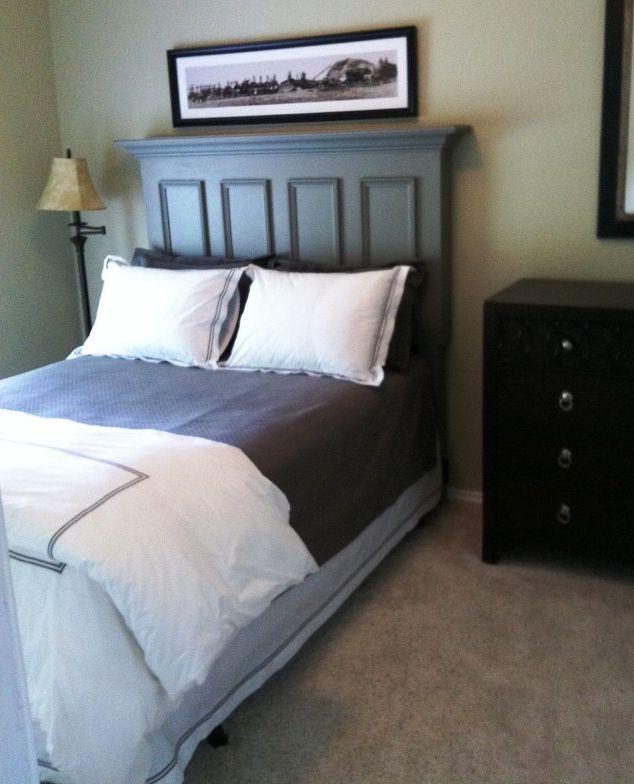 queen size door headboard made with a slab door painted chelsea gray,  bedroom ideas,