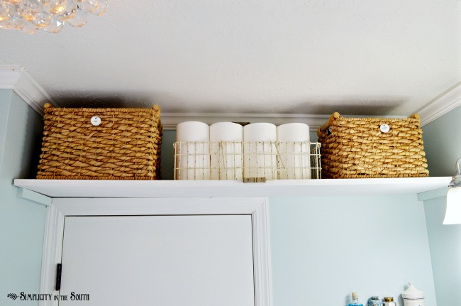 baskets above the door for extra storage
