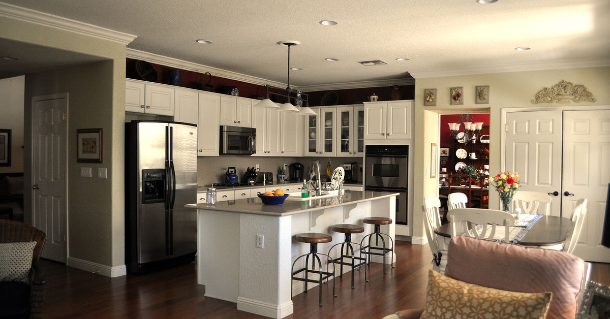 What color to paint above the kitchen cabinets hometalk for Can i paint over kitchen cabinets