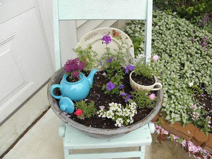 gardening, gardening, Just spray painted this wood chair with Valspar s Lowes very light aqua color It s my new favorite color