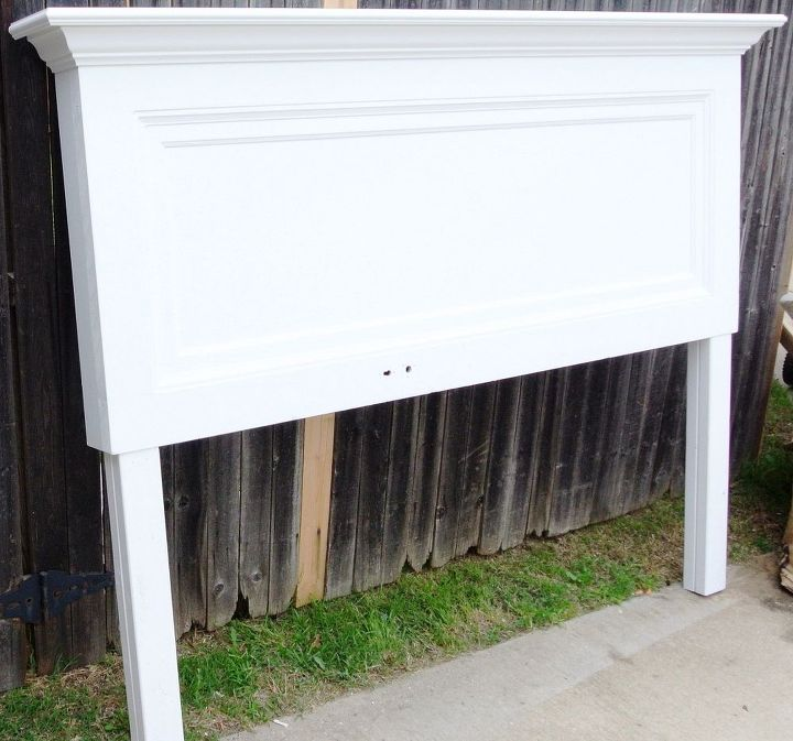 classic one panel old door headboard for a king size bed, bedroom ideas, painted furniture, repurposing upcycling