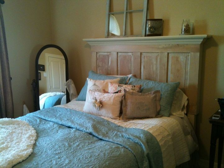 Queen Size Old Door Headboard Made On The Light Side Bedroom Ideas Painted Furniture