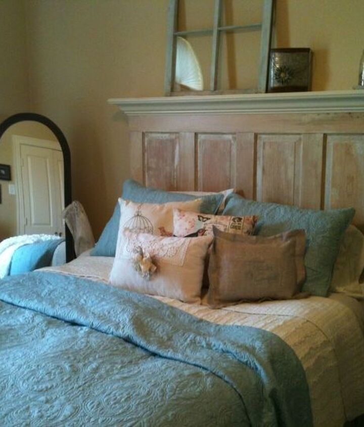 queen size old door headboard made on the light side, bedroom ideas, painted furniture, repurposing upcycling