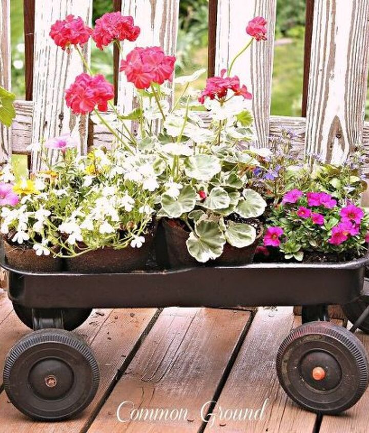 vintage children s wagon with flowers, decks, repurposing upcycling