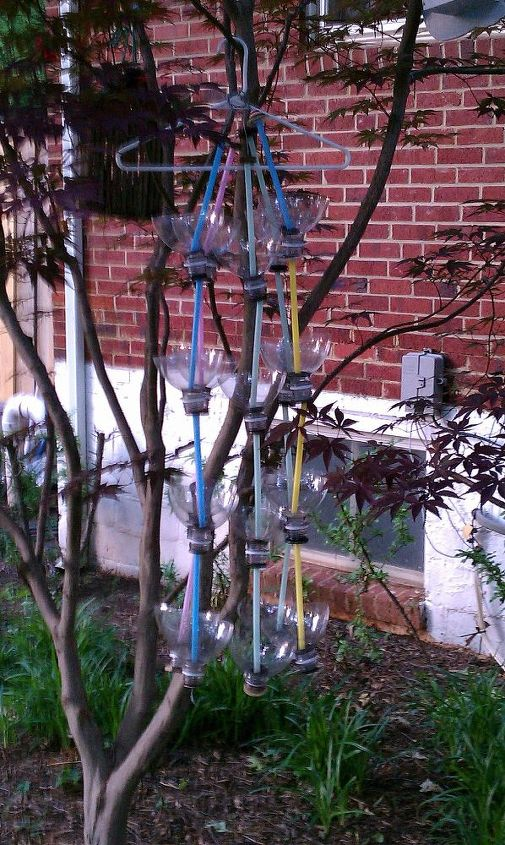 This is all 5 of the rain chains hanging together in my Japanese Maple tree. They are hung on a white plastic clothes hanger.