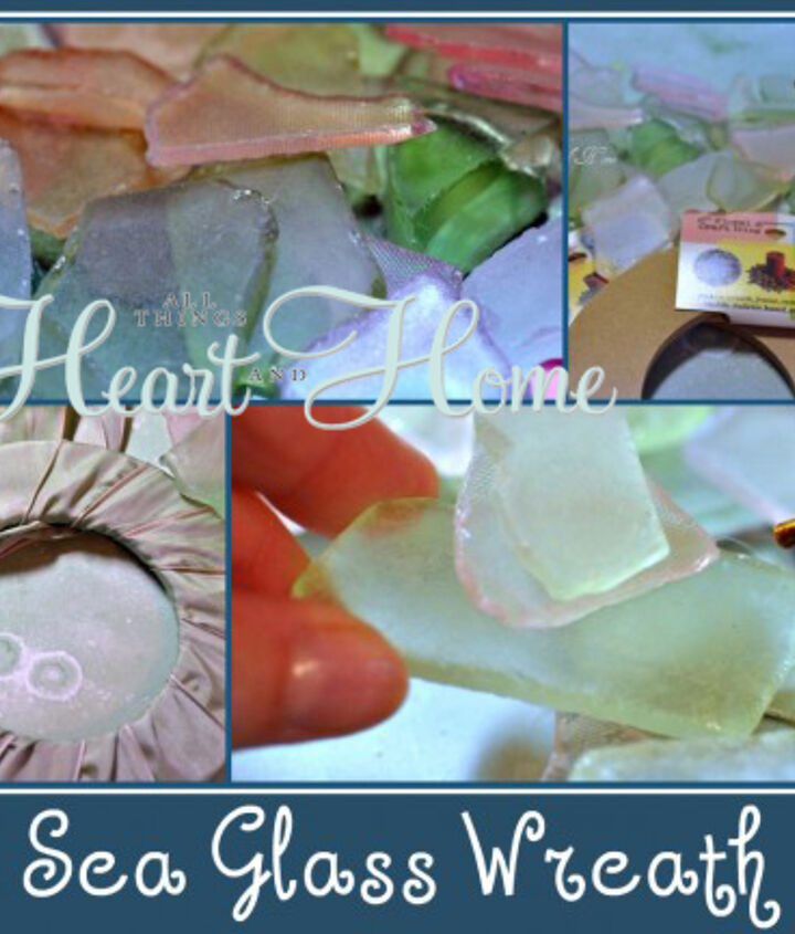 Using a particle board wreath base (found in the floral design section of your craft stores) - I made the cutest wreaths. Wrap them w/ ribbon and hot glue sea glass onto the base-stack the glass to make it interesting!