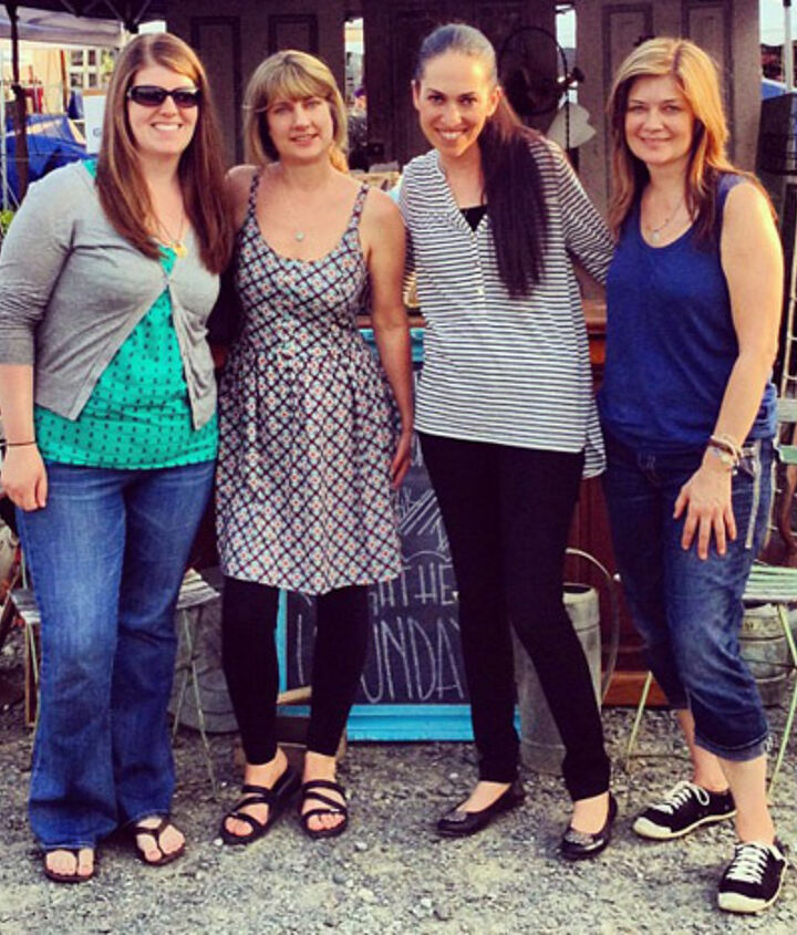 This photo shows Allison from Golden Sycamore, Me, Miriam from Hometalk and Donna from Funky Junk Interiors.