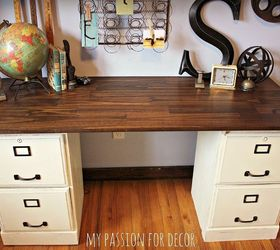 Pottery Barn Inspired Desk Using Goodwill Filing Cabinets | Hometalk