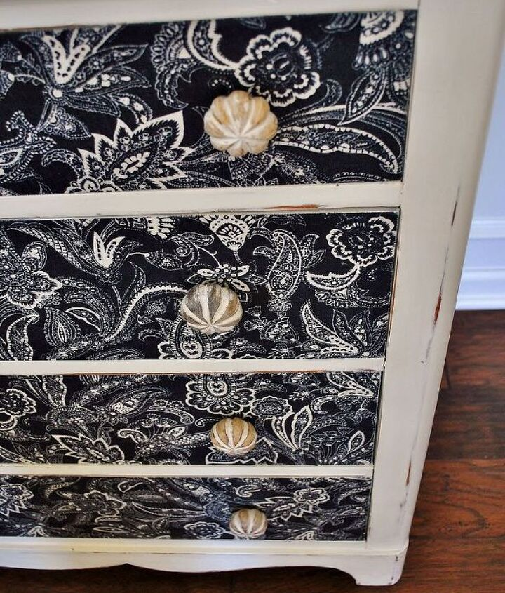 dresser makeover with fabric, home decor, painted furniture