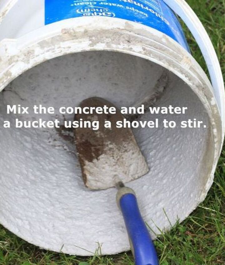 Mix the concrete and water in a bucket using a shovel to stir.