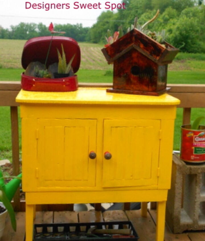 The Sunburst yellow paint is from Rustoleum. It really makes an impact in our yard!