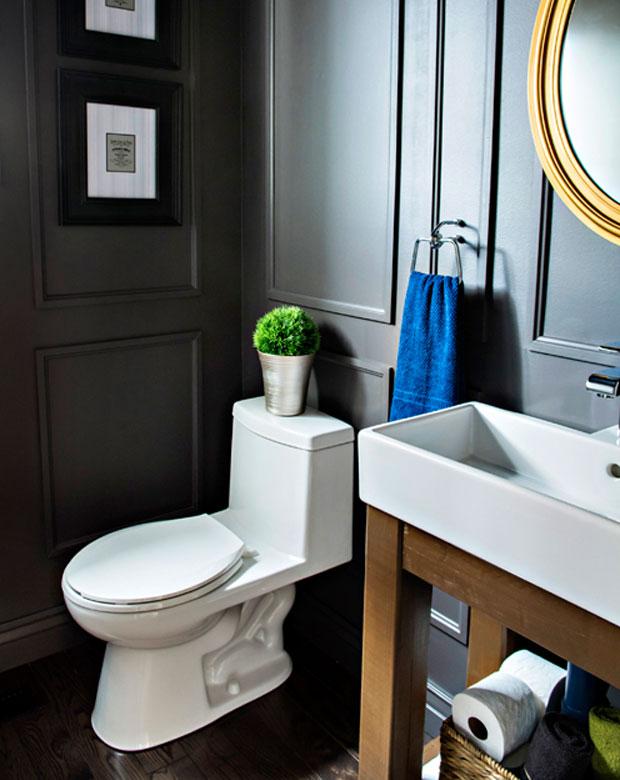 reveal dated powder room gets a moody makeover, bathroom ideas, small bathroom ideas, wall decor