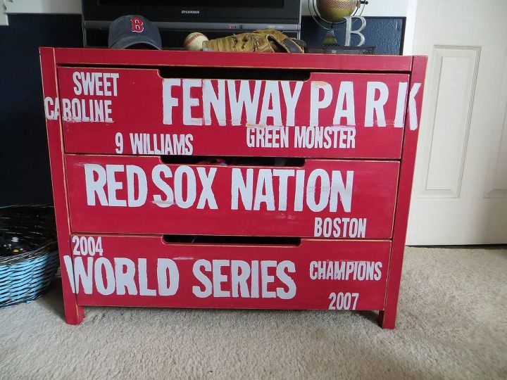 subway style baseball dresser for my redsox fans ikea hack, painted furniture, A fun update on a boring Ikea dresser subway style lettering in their team s colors DIY vintage