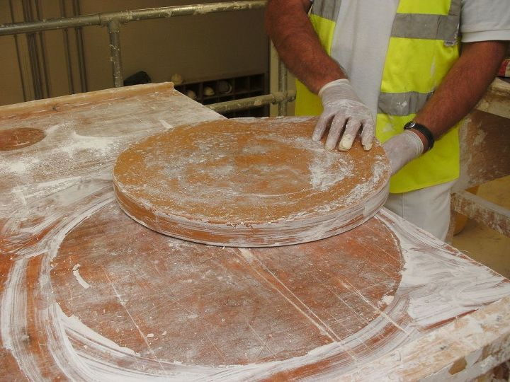 The  flood mould is now turned over and removed from the plaster cast