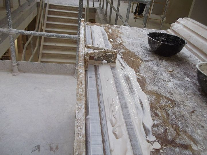 Then poured over the running areas, the panel mould is then run over the plaster, and cleaned after each run.