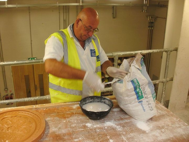 Casting plaster is mixed in a mixing bowl,