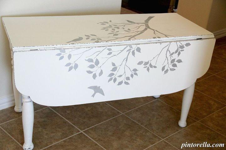 stenciled drop leaf table, chalk paint, painted furniture, Stenciled Drop Leaf Table and used homemade chalk paint DIY