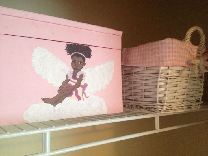The best way to keep thing organized and out of sight is with boxes and baskets. I love this hand painted box that was gifted to me.