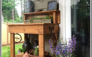 a potting bench make over, gardening, outdoor furniture, outdoor living, painted furniture