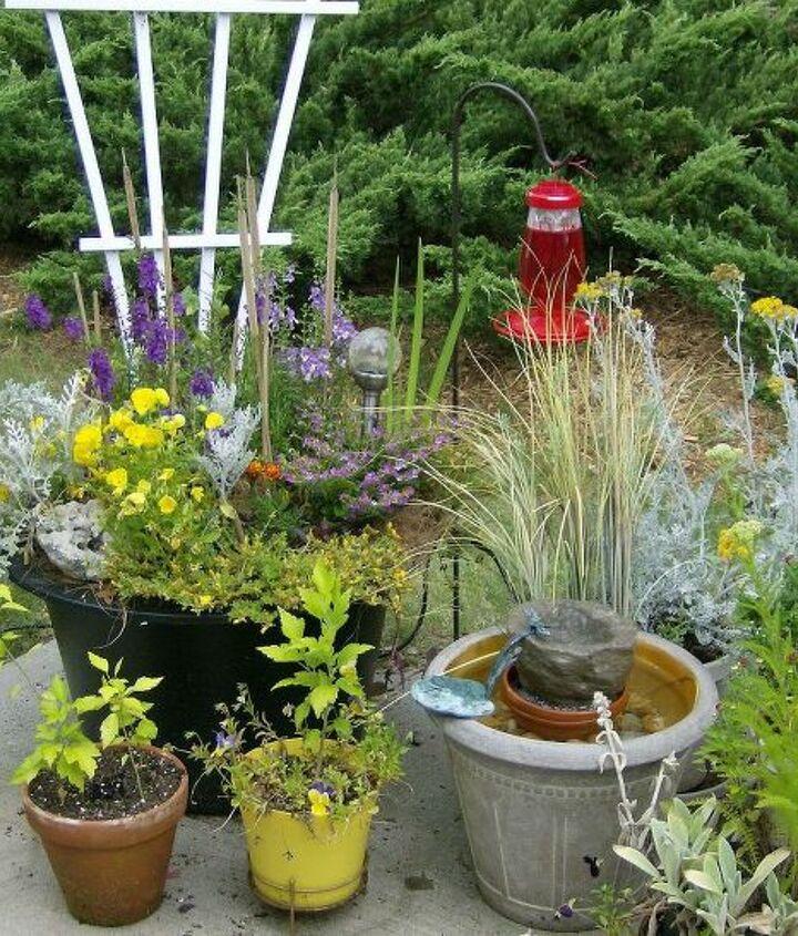 patio garden with water feature, gardening, ponds water features