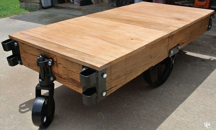 restoration of turn of the century industrial cart into a coffee table, painted furniture, repurposing upcycling