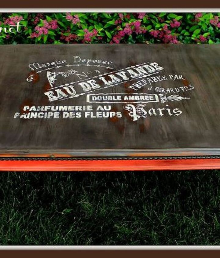 my finished French Eau de lavande vintage coffee table