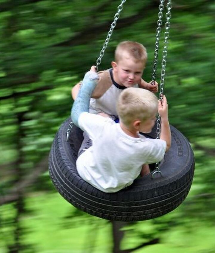 My grandkids love our tire swing. It is hung from a large oak tree on a hill so they get lots of height.