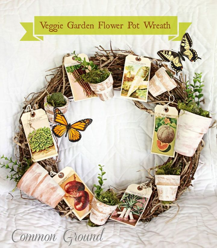 veggie garden seed packet and flowerpot wreath, crafts, outdoor living, wreaths
