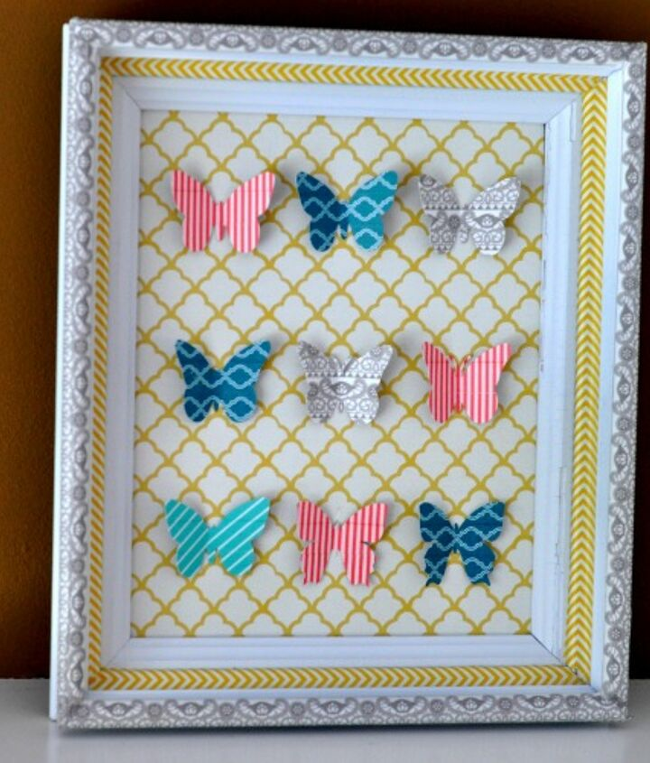 Create this easy and colourful art using washi tape and scrapbooking paper!
