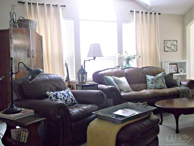 I've thought a slipcover on the chair would lighten up this corner of the room.