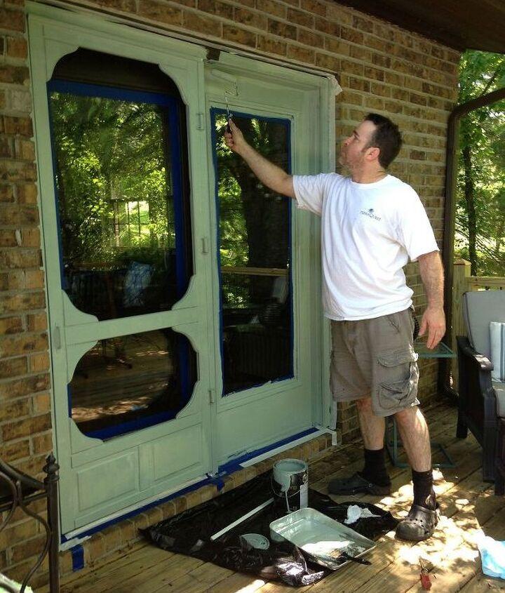 Door being painted Sherwin Williams-6213 Halcyon Green.