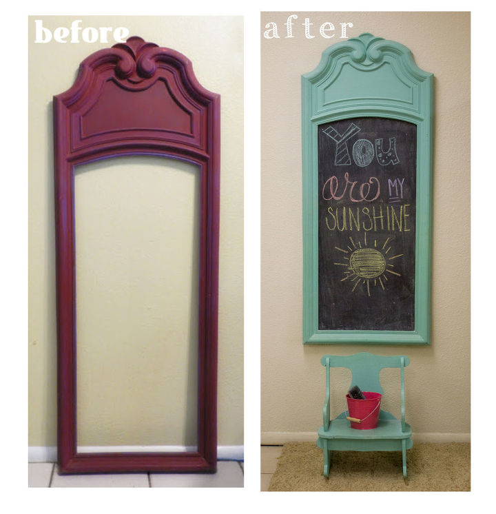 upcycled vintage mirror frame to chalkboard, chalkboard paint, crafts, home decor, repurposing upcycling, before and after