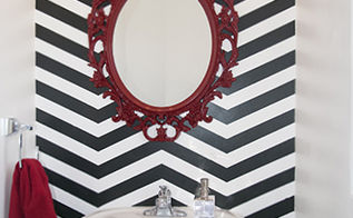 diy chevron bathroom, bathroom ideas, home decor, Accent wall and pop of red