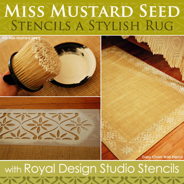 how to stencil transforming indoor rugs with stencils, flooring, painting, Stenciling a Stylish Rug with Royal Design Studio Stencils