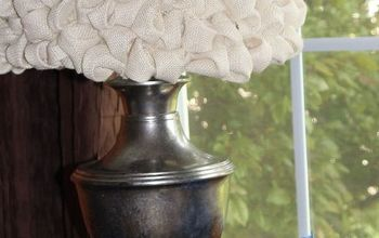 DIY Lamp Makeover With Faux Mercury Effect and a Bubble Burlap Shade