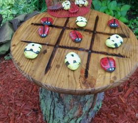 tic tac toe garden table crafts outdoor living repurposing upcycling tic tac tic tac toe tree trunk