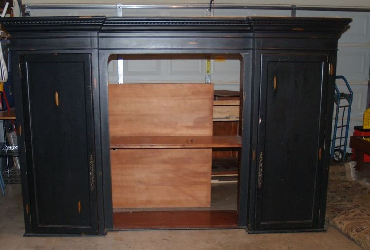 what to do with this 2 piece entertainment center, painted furniture, repurposing upcycling, This is taller than me and I m 5 and half ft tall That s the back of the open part sitting in back