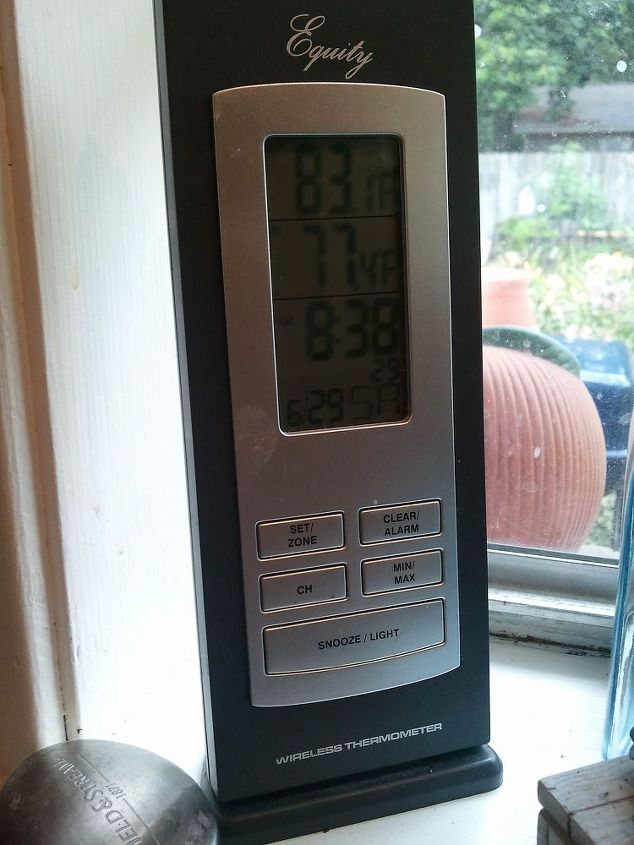 Remote weather station in my kitchen window. Top temp tells me what it is in greenhouse. Ran extension cord and placed small heater inside with timer for winter. Easy to adjust temp with MS winter weather that flucuates !