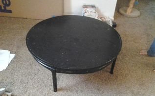 refinishing a craigslist table, home decor, outdoor furniture, painted furniture, The oak table had a layer of lacquer under uneven black spray paint which covered a lovely sunburst tabletop design