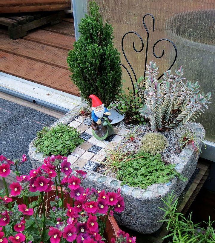 New fairy garden in Hypertufa pot.