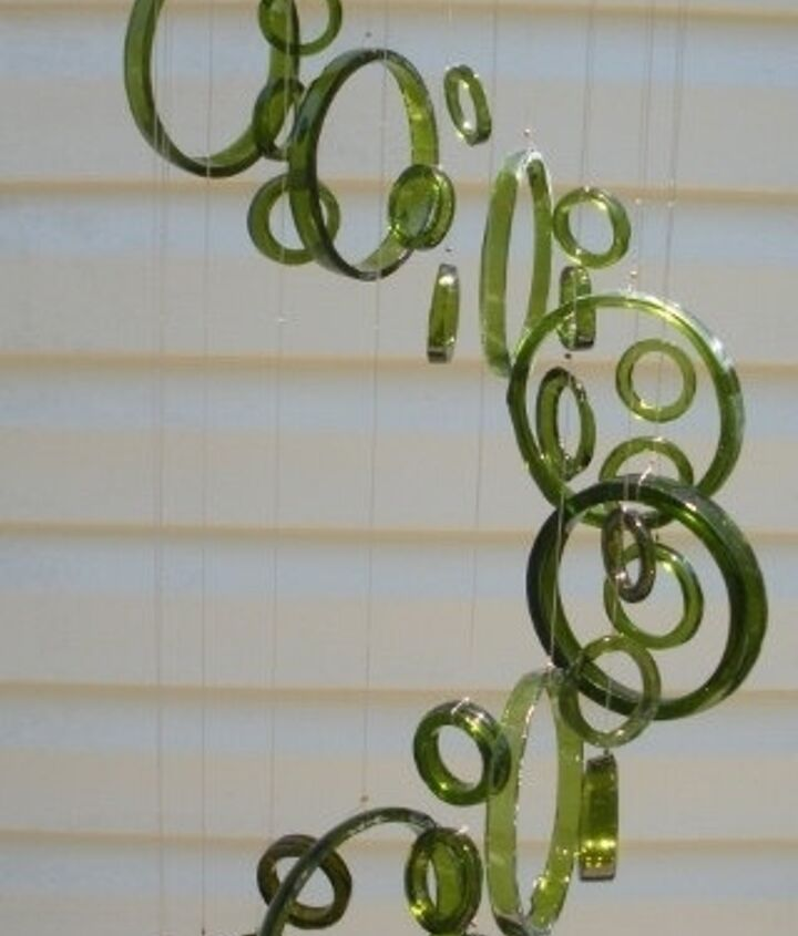 RECYCLED wine bottles made into windchimes by Liftingupspirits