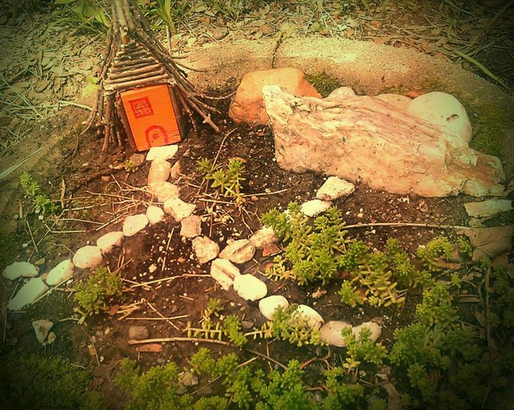 The not-done gnome home in the not-done gnome garden!