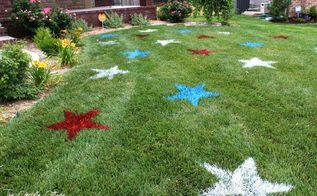 painted 4th of july lawn stars, outdoor living, painting, patriotic decor ideas, seasonal holiday decor