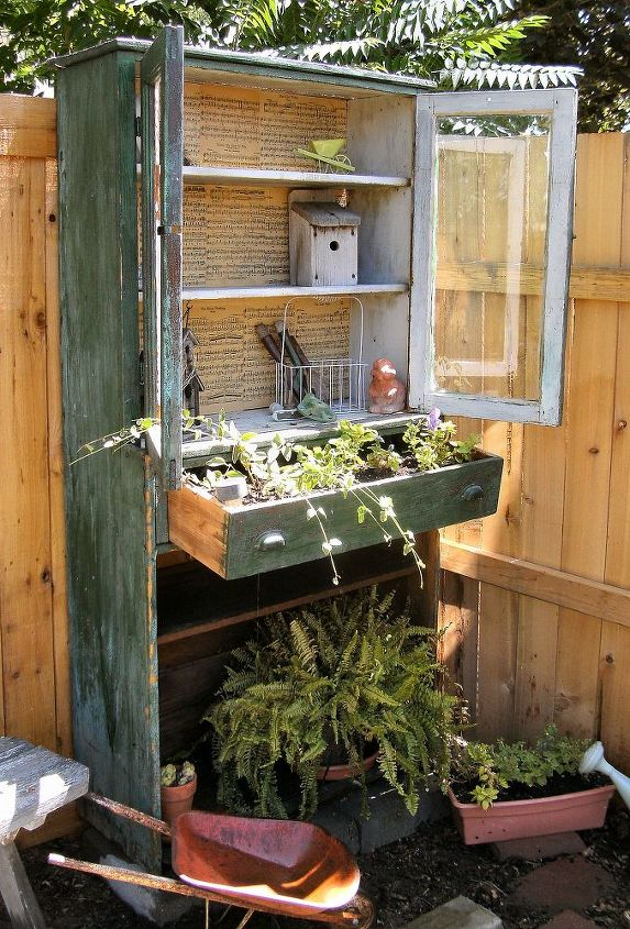 a bookcase in the yard, gardening, outdoor furniture, outdoor living, painted furniture, repurposing upcycling