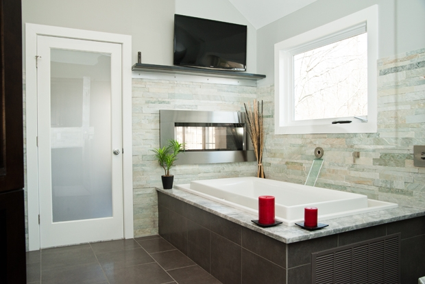 spa bath bedroom remodel two sided fireplace infinity tub more, bathroom ideas, bedroom ideas, home decor, home improvement, tiling, Learn ALL About This Fantastic Bathroom By Proskill Here